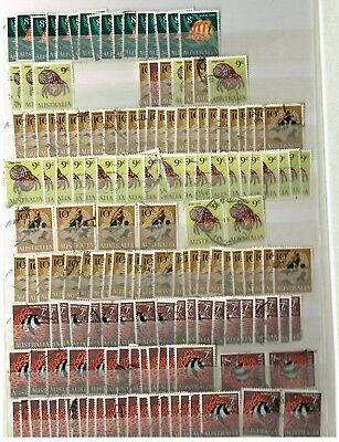 Australian decimal 1966 BULK LOT -FISH SETS - USED OVER 700 STAMPS