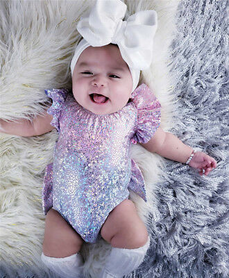 US Newborn Infant Baby Girl Sequin Mermaid Romper Jumpsuit Party Outfits Sunsuit