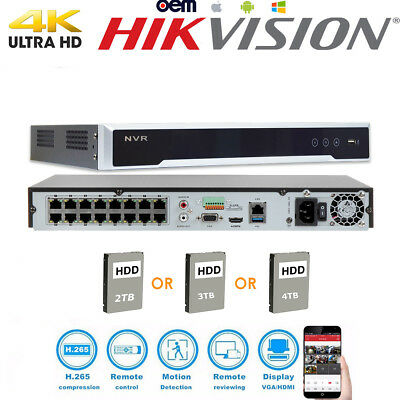 HIKVISION OEM 4K NVR 16CH 16POE DS-7616NI-I2/16P Security Network Video Recorder