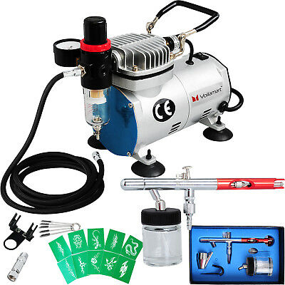 1/6HP Voilamart Air Brush Compressor Airbrush Spray Guns Stencils Hose Art Kit