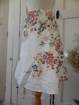 Pretty Taj Vintage Pure Cotton Wrap Skirt- Lovely Floral Work With Beading 10 12