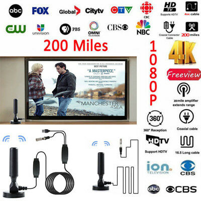 Antenna TV Digital HD 200 Mile Range Skywire Indoor 1080P 4K 16ft Coax Cable