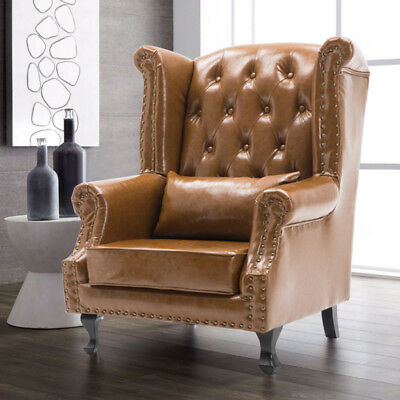 Chesterfield Queen Anne Tuffed Wing High Backed Chair Leather Armchair Fireside