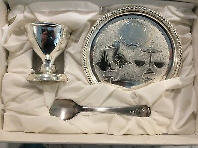 Silver Plated Seba Christening Gift Set egg cup spoon plate