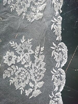 Antique Early 19th Century Hand Made Brussels Lace On Droschel Bonnet Veil
