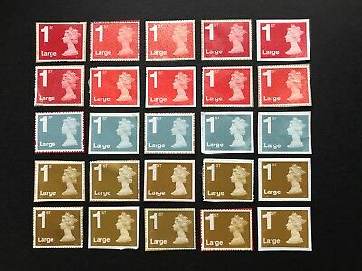 50  x UNFRANKED  'LARGE'  1st  class stamps ON paper  -  Face Value £50.50