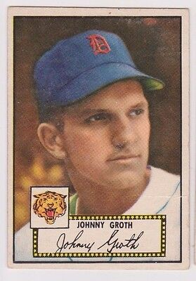 1952 Topps #25 Black Back Johnny Groth - Detroit Tigers, Very Good Condition