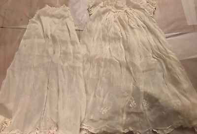 Feltman Bros Hand Embroidered 2 Piece Christening Gown Made in Philippines