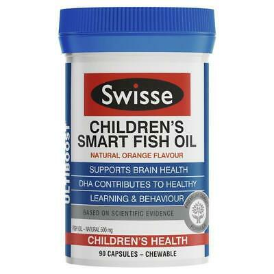 New Swisse Ultiboost Children's Smart Fish Oil 90 Capsules Supports Learning