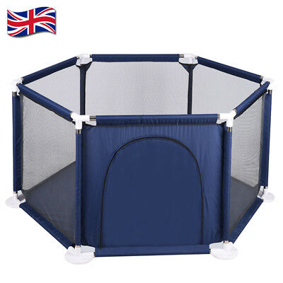6 Side Baby Child Foldable Kids Playpen Play Pens Room Divider Heavy Duty - UK