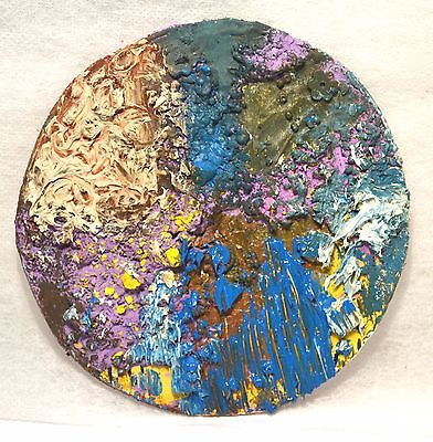 Original Modern Mini Textured Abstract Round Painting,Blue,White,Bright Wall Art