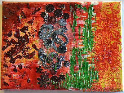 New Original Abstract Modern Oil Painting,Red,Orange,New Home Quirky Art Gift