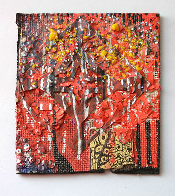 Original Abstract Modern Painting,Red,Gold,Textiles Art,Home / Birthday Gift