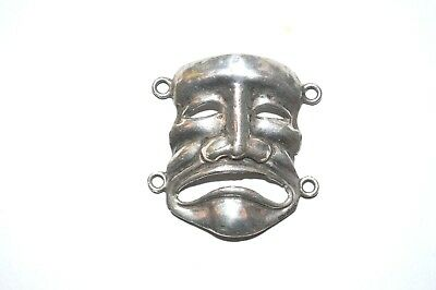 Vintage Small Sterling Silver Sad Face Mask For Jewelry Steampunk Project
