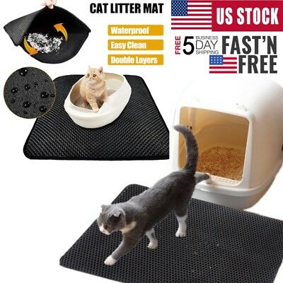 Cat Litter Mat Double Layer Pad Pet Flexible Trapping for Box Foam Rubber Rug US