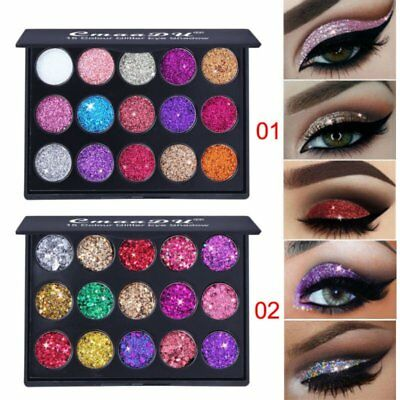 15Colors Diamond Glitter Eye Shadow Make Up Pressed Palette Sequins Eyeshadow US