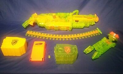 Nerf RARE HAVOC  VULCAN TRANSPARENT NEON GREEN EBF 25 plus Ammo and batteries.