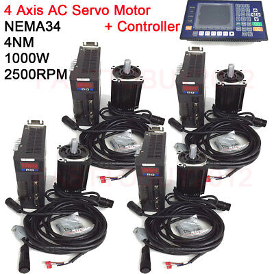 NEMA34 4Axis 1KW AC Servo Motor 4NM Drive Kit 2500RPM CNC Controller for Textile