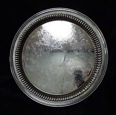 Vintage intricate art deco Ranleigh round silver drinks tray