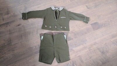 Vintage Antique Kaynee Boys Wool 2 Piece Short Suit Early 1900's Olive Green