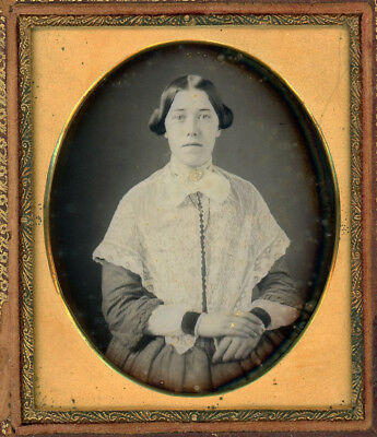 Attractive Young Lady Wearing White Lace Shawl Dag Daguerreotype