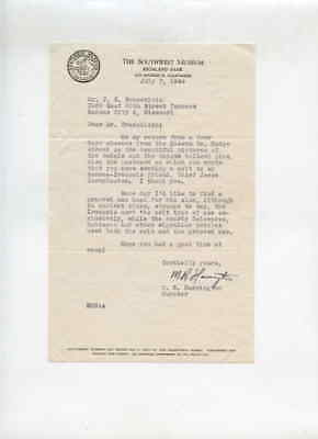Southwest Museum Los Angeles CA 7/7/1944 Letter to J G Braecklein Kansas City