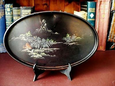 Antique Japanese Tray - Japanese Black Laquer Oval Tray, Mountain Decoration