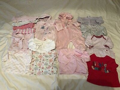 Newborn Baby Girls Clothes Bundle Tops Trousers Pramsuit Pink (Ref:9)