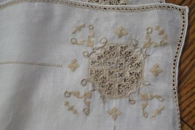 Vintage Italian Needlelace Inserts White Linen 8 Placemats & Table Runner Xclnt