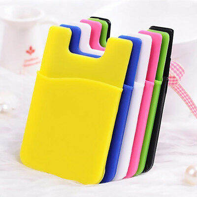 2pcs Silicone Mobile Phone Wallet Credit Card Cash Stick Adhesive Holder Case