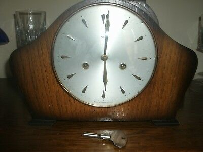 "Smith's wood antique vintage mantel clock, with chime and  key, not working 8"" T"