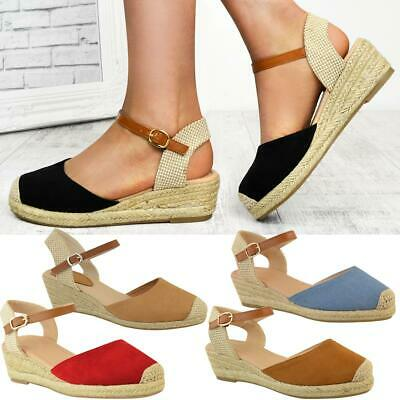 WOMENS LADIES LOW Wedge Heel Summer Sandals Strappy