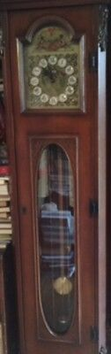 Grandfather Clock Hertz Weight Driven Working Chimes Beautiful Carving and Face