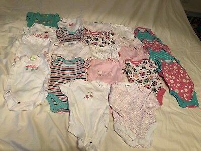 Newborn Up To 1 Month Baby Girls Clothes Bundle Vests Bodysuits (Ref:12)