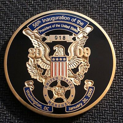 """US Marshals Service 2009 Inaugural """"Obama's first"""" 1.5in challenge coin RARE"""