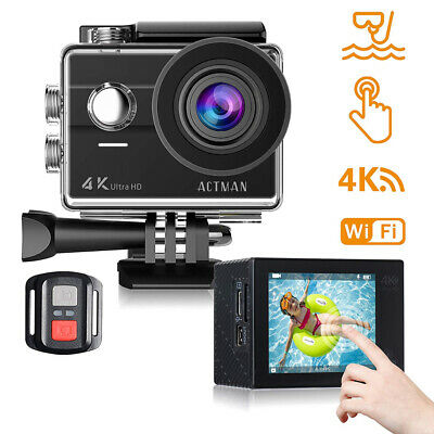 Action Camera 4K Waterproof Underwater Cameras WiFi 2 Inch Touch Screen...