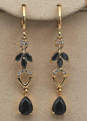 "18K Gold Filled 1.85"" Earrings Black Onyx Topaz Waterdrop Petal Dangle Hoop Lady"