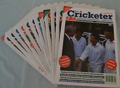 The CRICKETER INTERNATIONAL Magazines,Year 1993, set of 12 issues(Jan-Dec)