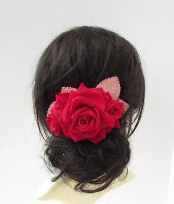 Large Rose Gold Red Rose Flower Hair Comb Fascinator Bridal Wedding Leaves 6832