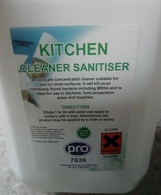 pro Kitchen Cleaner Sanitiser 2X5Ltr Concentrated Commercial Professional