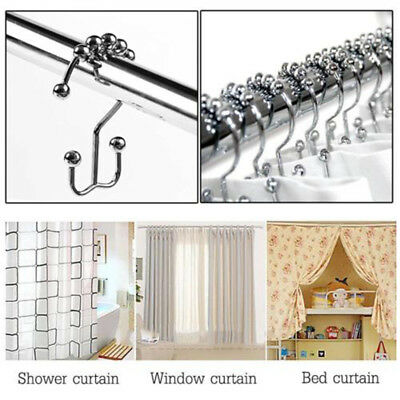 Fashion Home Shower Curtain Rings Chrome Hooks Double Glide Bathroom Roller Tool