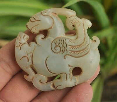 Chinese ancient old hard jade hand-carved pendant necklace ~Mythical Animals