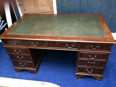 Traditional leather top twin pedestal writing/office desk- Regency Style