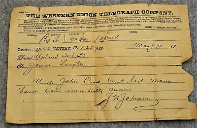 Antique 1918 Western Union Telegraph / Uncle John Dying,  Come Immediately