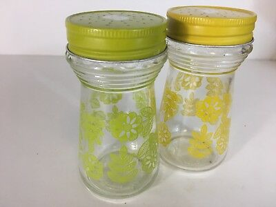 Vintage Glass Salt And Pepper Shakers Floral Avocado Green Yellow 70's