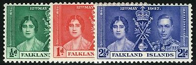 Sg 143-145 Falkland Islands 1937 Coronation Set - Unmounted Mint