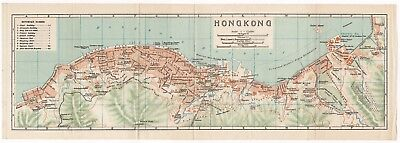 Original antique 1924 very rare map of Hong Kong, China- 香港