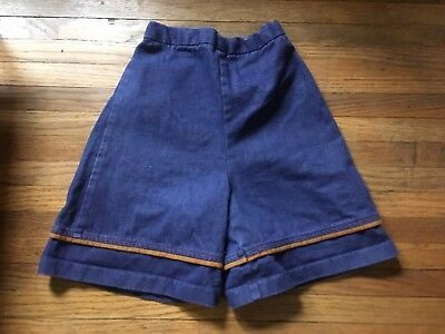 Vtg 70s 80s Girls Juniors High Waist Jean Shorts Denim Hippy Elastic XS
