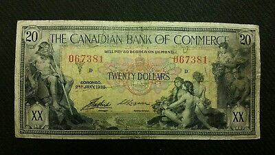 1935 The Canadian Bank Of Commerce $20 Canadian Banknote