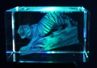 Laser 3D Etched Crystal Block Ornament Paperweight Boxed Tiger Go Downhill